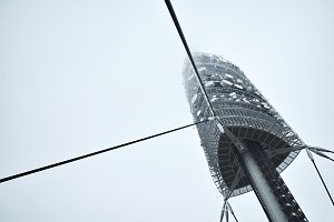 TV tower in foggy day