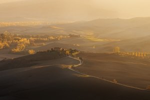 Valley Val d'Orcia at sunset
