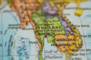 Thailand and Cambodia  Country Map .