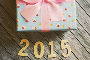 Happy new year 2015 with gift box