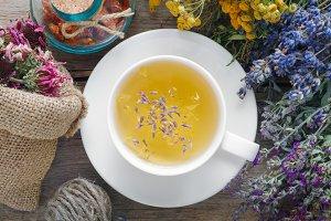 Medicinal herbs and healthy tea cup