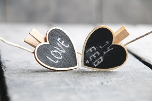 St Valentine's day idea. 14th of February and love inscriptions on the two hearts.