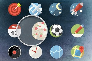 24 + 12 Rounded Flat Icons Pack