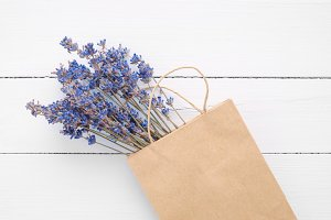 Lavender flowers in shopping bag