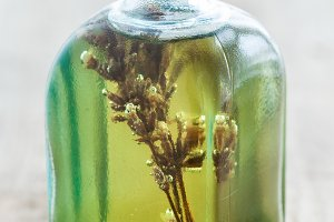 Bottles of essential oil or infusion