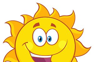 Happy Sun Cartoon Mascot Character