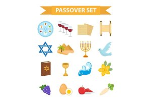 Passover icons set