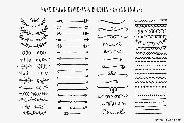 Hand Drawn Dividers Laurels & Arrow…