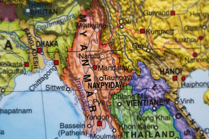 Myanmar country map .