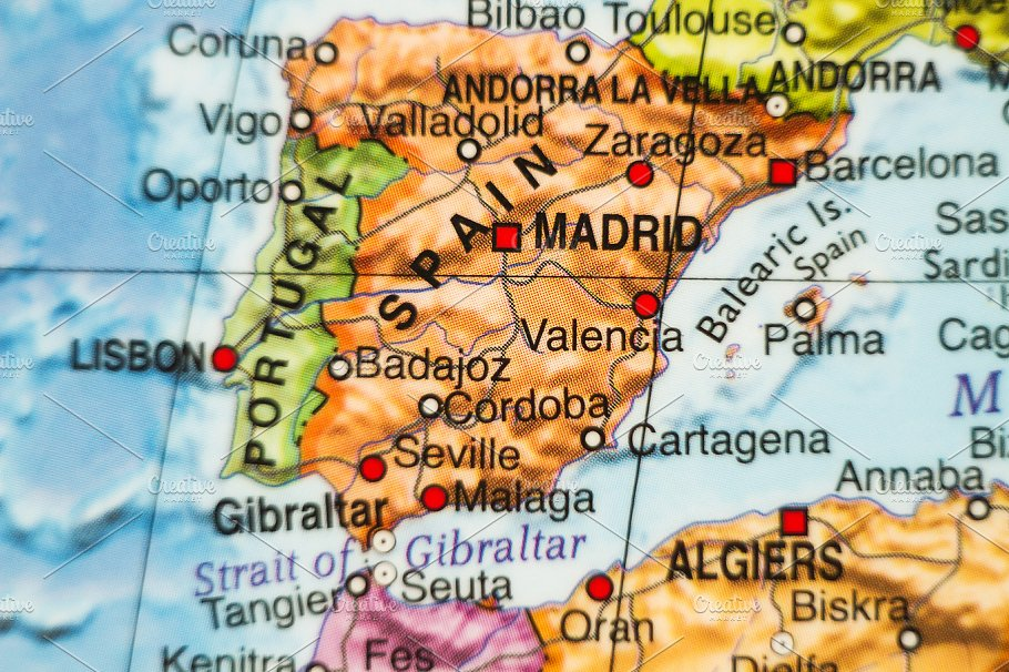 Country Of Spain Map.Spain Country Map Abstract Photos Creative Market