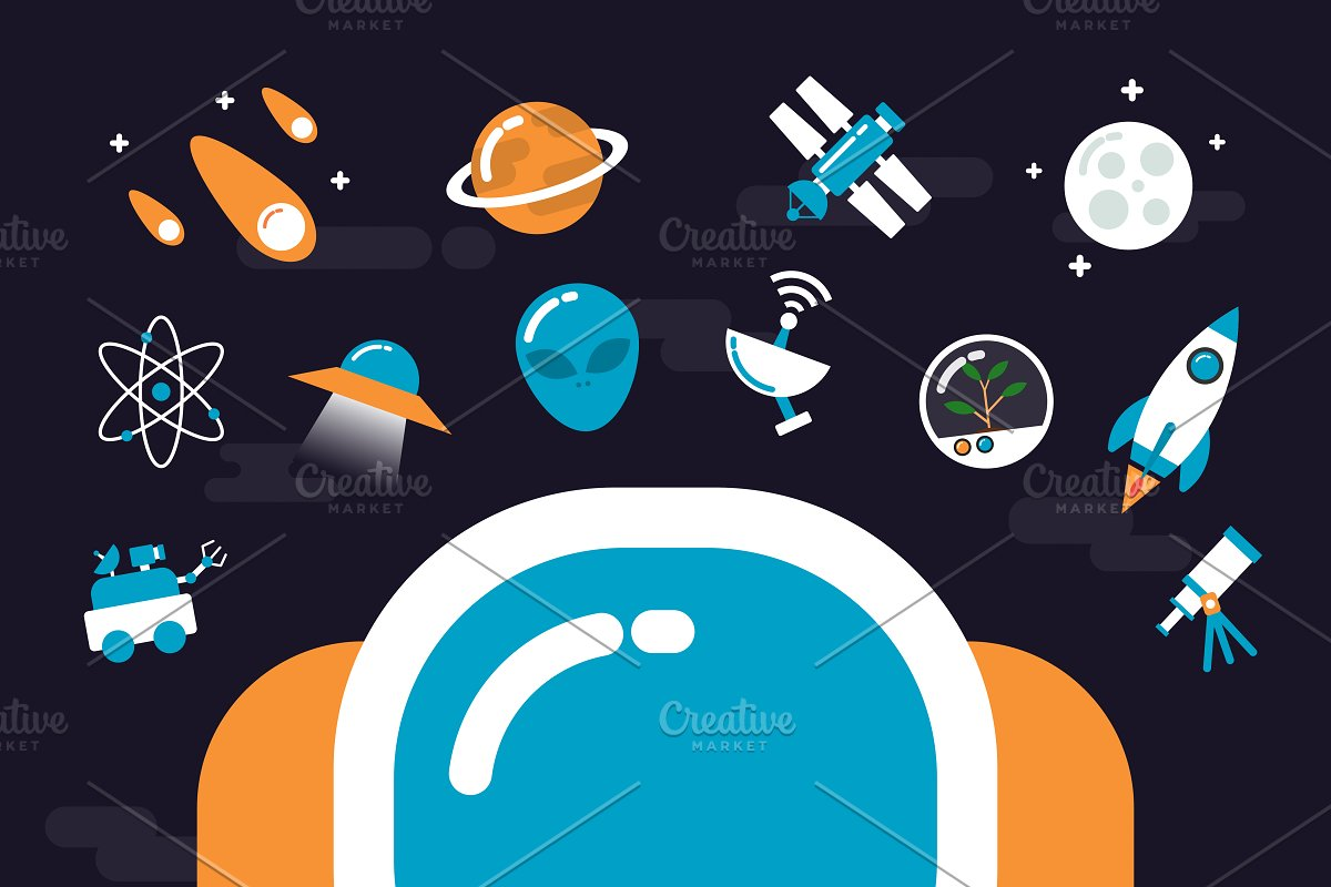 astronomy with icons