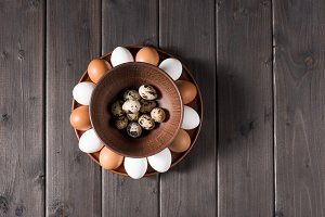 Chicken and quail eggs