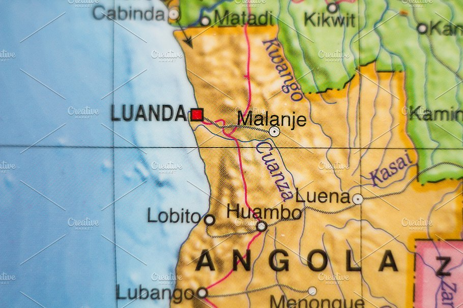 Republic Of Angola Country Map High Quality Abstract Stock