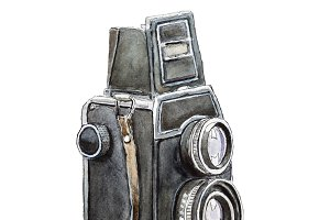 Watercolor sketch of retro camera
