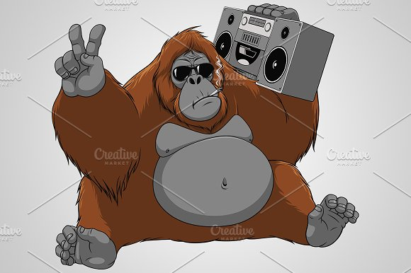 Funny Monkey With A Tape Recorder