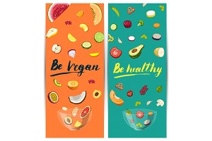 Be vegan, be healthy concept with vegetable