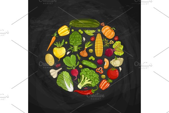 Fresh vegetable round shape composition