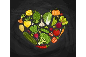Fresh vegetable heart shape composition