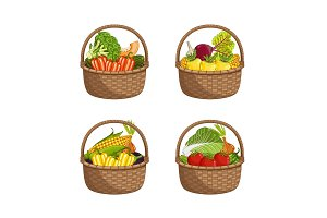 Fresh organic vegetable in wicker basket set