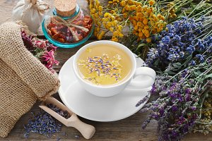 Healthy tea and medicinal herbs