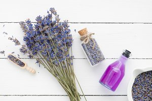 Lavender flowers, bottle and oil