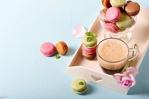 Macaroons and coffee for dessert