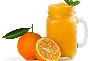 Smoothie of orange fruit.