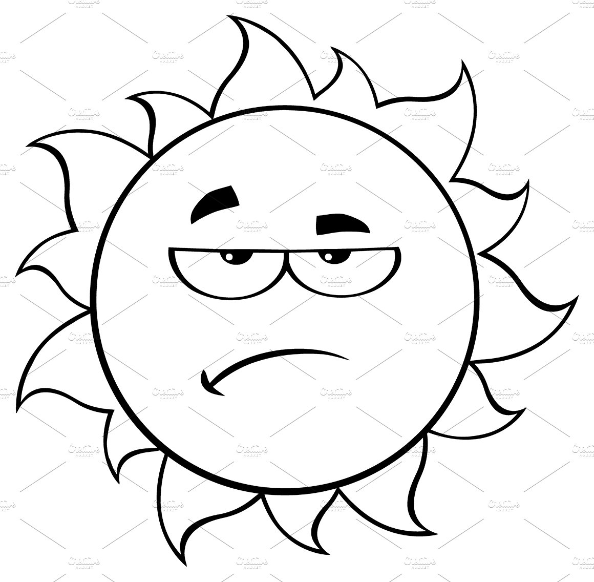 Black And White Grumpy Sun  Illustrations  Creative Market-8022