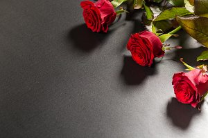 Beautiful red roses bouquet on a black background. Greeting card Valentine day or March 8. Free space for text