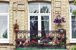 Balcony with flowers at summertime