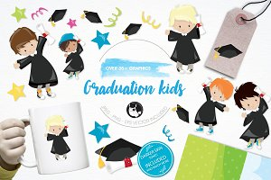 Graduation kids illustration pack