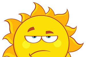 Grumpy Sun Cartoon Mascot Character