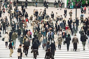People on the street in Tokyo