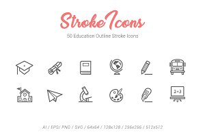 50 Education Outline Stroke Icons