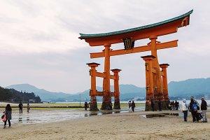 Torii gate at low tide in Japan