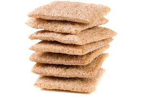 stack of crisp bread isolated on white background