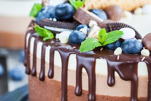 Three chocolate mousse cake