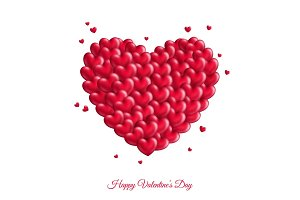 Many red small hearts for Valentine's Day