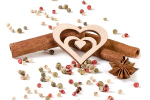 spices with heart isolated on white background