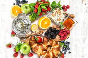 Healthy food Breakfast coffee fruits