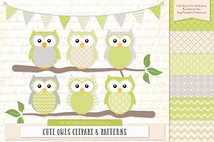 Owls Clipart & Patterns in Bamboo