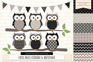 Owls Clipart & Patterns in Black