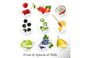 Fruit and berries in a milk splash