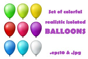 Set of colorful realistic balloons.