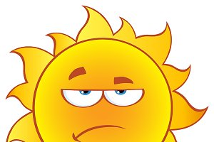 Grumpy Sun Character With Gradient