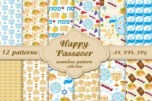 Passover seamless pattern set