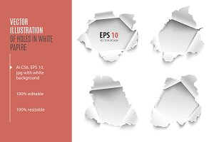 Holes in white paper. Vector set.