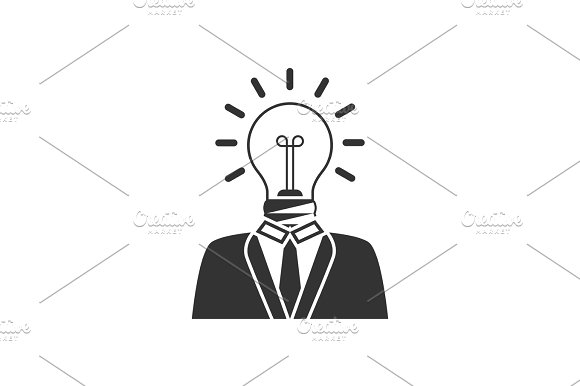 Businessman With Lightbulb Head Icon