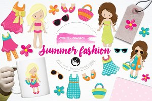 Summer fashion illustration pack