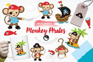 Monkey pirates illustration pack